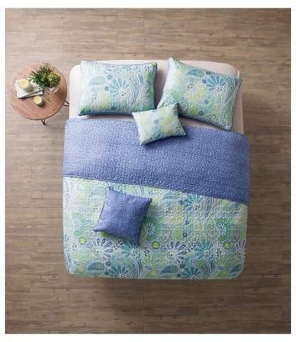 VCNY Blue Reversible Harmony Quilt Set - VCNY®