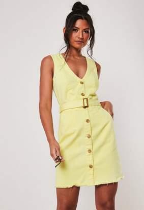 Missguided Lemon Belted Plunge Denim Mini Dress
