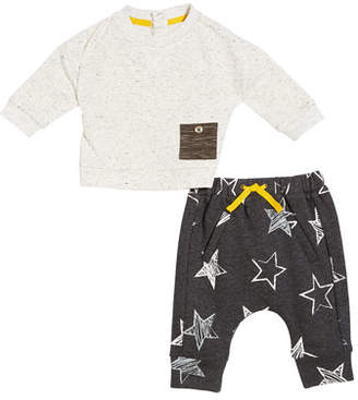 Miniclasix Speckled Long-Sleeve Top w/ Star Motif Pants, Size 3-24 Months