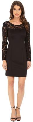 Jessica Simpson Scuba Dress with Lace Long Sleeves Women's Dress