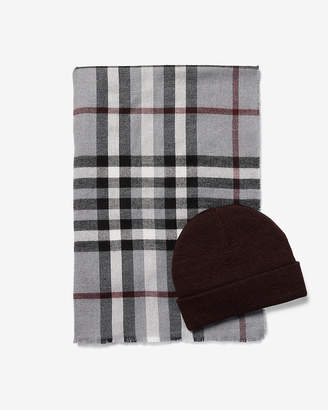 Express Plaid Scarf And Hat Gift Set