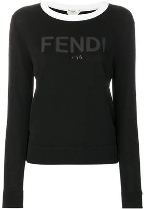 Fendi contrast-collar logo sweater