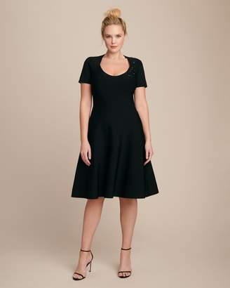 Zac Posen Covered Shoulders Fit-and-Flair Knit Dress