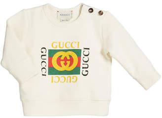Gucci Vintage-Logo Cotton Sweatshirt, Size 12-36 Months