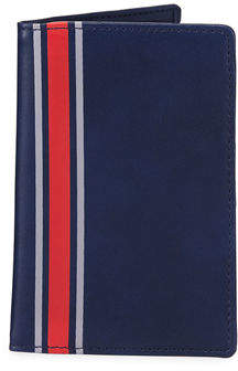 Neiman Marcus Striped Faux-Leather Passport Case