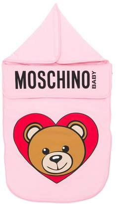 Moschino Kids Teddy logo print sleeping bag
