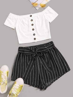 Shein Button Up Bardot Top and Self Belted Striped Shorts Set