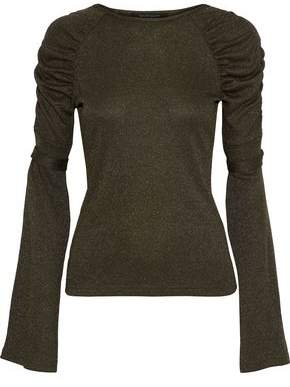 Walter W118 By Baker Lidell Ruched Metallic Knitted Top