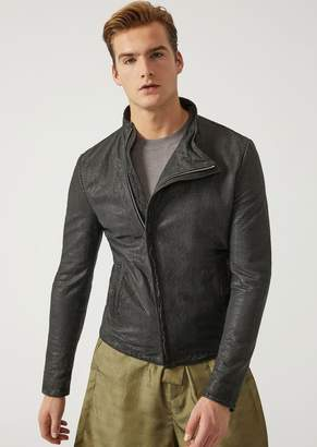 Emporio Armani Crusting Effect Leather Jacket