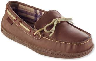 L.L. Bean L.L.Bean Women's Handsewn Leather Slippers, Flannel-Lined