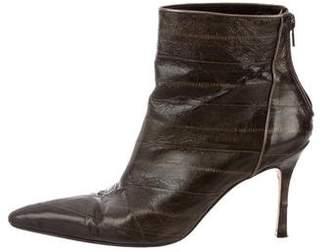 Manolo Blahnik Eel Skin Ankle Boots