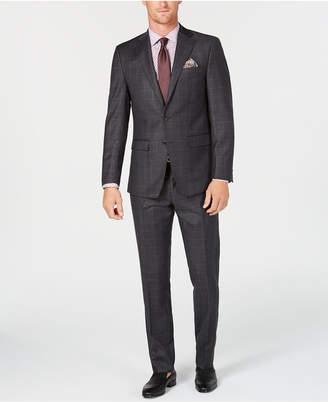 Tallia Men's Slim-Fit Stretch Charcoal/Burgundy Windowpane Wool Suit