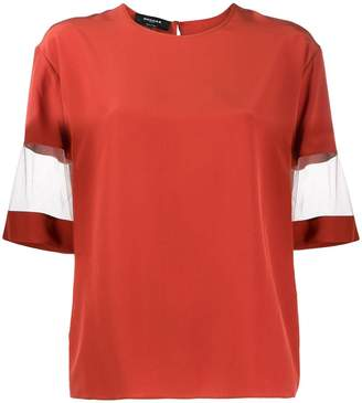 Rochas mesh-sleeve silk top