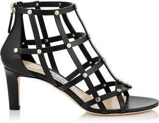 Jimmy Choo TINA 65 Black Calf Leather Sandals with Light Gold Studs