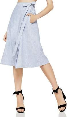 BCBGeneration Pinstriped Faux-Wrap Midi Skirt