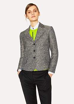 Paul Smith Women's Black and White Tweed Cotton-Blend Blazer