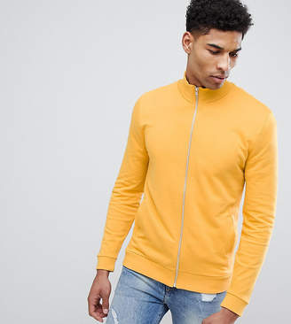 Asos Design DESIGN Tall jersey track jacket in yellow