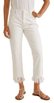 MANGO Straight-Fit Frayed Cropped Jeans