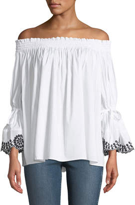 Glamorous Bardot Tie-Sleeve Off-The-Shoulder Blouse