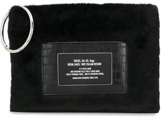Diesel Faux-fur clutch with croc detail