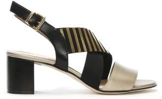 Brunate Luca Grossi Emine Gold & Black Leather Striped Cross Strap Sandals