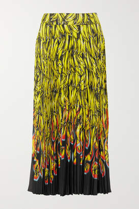 Prada Pleated Printed Crepe De Chine Midi Skirt - Yellow