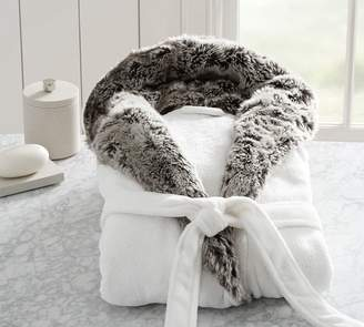 Pottery Barn Faux Fur Hooded Bath Robe - White/Gray Ombre