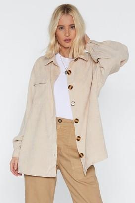 Nasty Gal Button-Down Time Oversized Corduroy Shirt