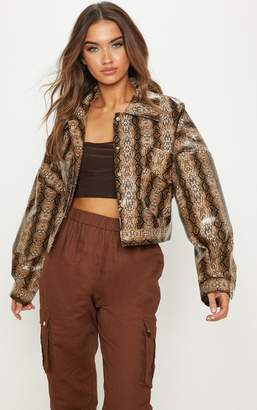 PrettyLittleThing Brown Snake PU Cropped Trucker