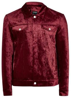 Topman Mens Red Velvet Western Jacket