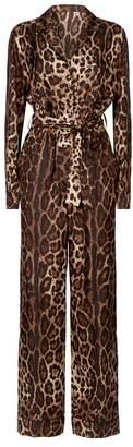 Dolce & Gabbana Silk Leopard Print Jumpsuit