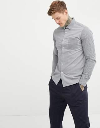 Asos DESIGN slim stretch smart contrast check work shirt