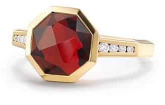David Yurman Guilin Octagon Ring with Garnet and Diamonds in 18K Yellow Gold