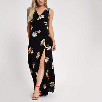River Island Petite black floral V neck maxi dress