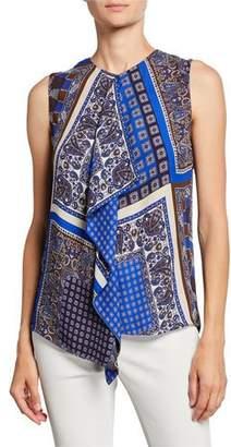 Elie Tahari Pernilla Printed Sleeveless Drape-Front Blouse