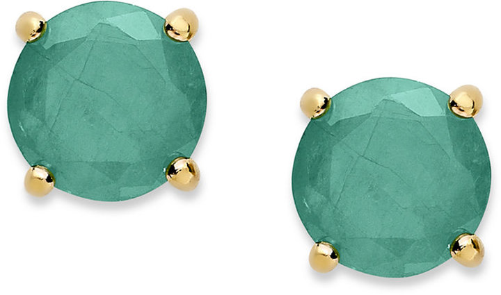 Townsend Victoria 18k Gold over Sterling Sterling Earrings, May's Birthstone Emerald Stud Earrings (1-1/2 ct. t.w.)