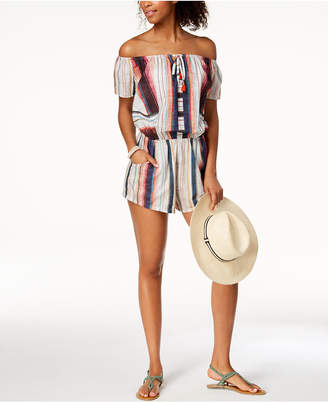 Lucky Brand Sonora Cotton Off-The-Shoulder Romper Cover-Up Women's Swimsuit