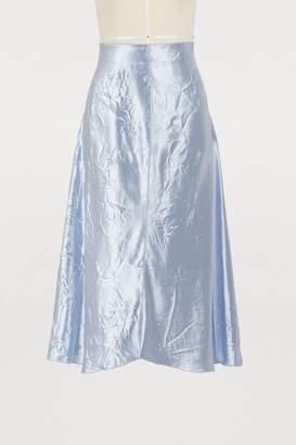 Nina Ricci Crinkled satin midi skirt