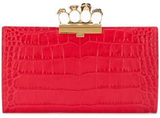 Alexander McQueen knuckle crocodile effect clutch