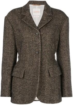 Zanini fitted herringbone blazer