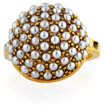 Lulu Frost Empire Ring w/ Glass Pearls, Size 7