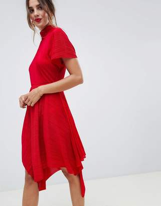 9d42fb03b383 Asos Design DESIGN plisse midi dress with high neck and hanky hem