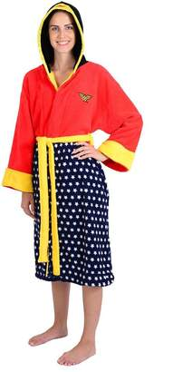 Factory Robe DC Comics Wonder Woman Stars Hooded Cosplay Fleece Robe (One Size)