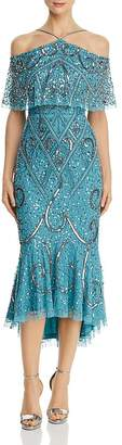 Aidan Mattox Embellished Cold-Shoulder Dress