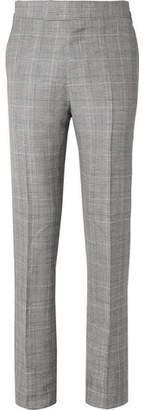 Kingsman Eggsy's Grey Prince Of Wales Checked Wool And Linen-Blend Suit Trousers