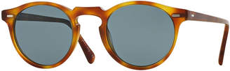 Oliver Peoples Gregory Peck Round Plastic Sunglasses, Brown/Tortoise
