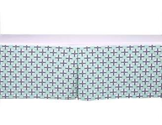Bacati Noah Tribal Dots/Cross Mint/Navy Tailored with 100% Cotton Percale 13 inch drop Crib/Toddler Bed Skirt