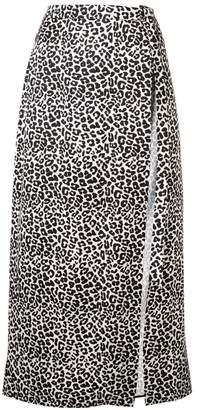 Wandering leopard print midi skirt