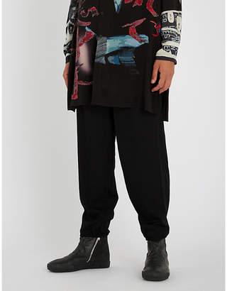 Yohji Yamamoto Dropped-crotch wool jogging bottoms