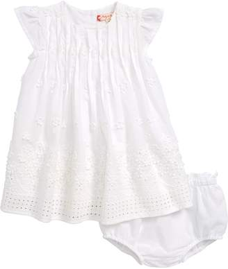 Ruby & Bloom Flower Embroidered Pleated Dress